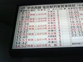 特急しなの大阪行き
